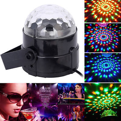 Music Active RGB Crystal Ball Rotating LED Stage Light Disco Party Bulb Lamp