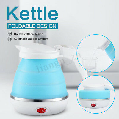 500ml Blue Travel Silicone Foldable Collapsible Electric Water Kettle Boiler