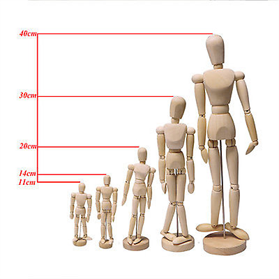 Wooden Figure Manikin Mannequin Artist Drawing Sketching Jointed Human Puppet AU