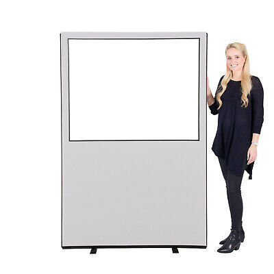 Glazed Office Screen / Divider / Partition 1200mm w x 1800 mm h, woolmix fabric