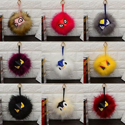 PomPom Mink Fox Faux Fur Monster Pom Ball Charm Keychain Bag Handbag Fashion