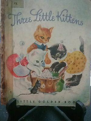 "THREE LITTLE KITTENS Little Golden Book 1942 ""L"" Edition (A/C)"