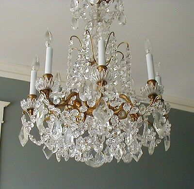 Fabulous Antique Crystal & Gilt Bronze 8 Arm Chandelier