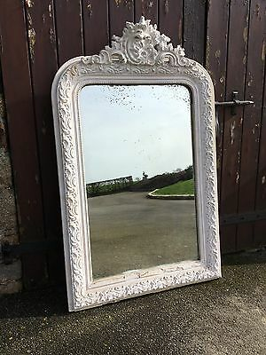 Antique French Crested Mirror 19th Century Painted Distressed