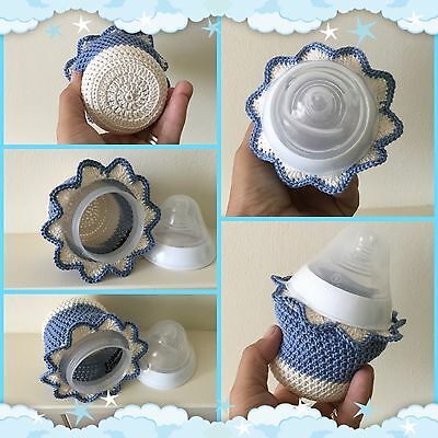 Hand crochet baby bottle Blue & Cream cover for Tommee Tippee 5oz~New Baby Gift