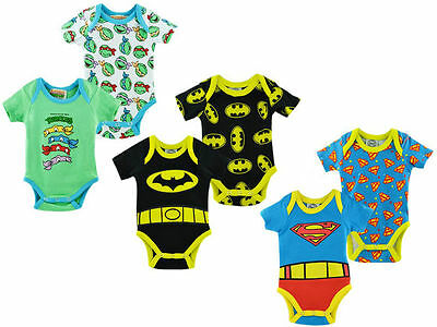 Lot de 2 bodys bébé super héros NEUF : BATMAN, SUPERMAN, TORTUES NINJA garçon