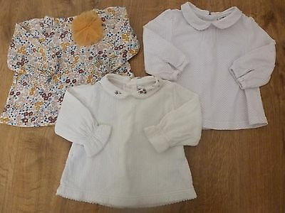 Cyrillus Sergent Major Tex***Lot de 3 blouses 3 mois 60 cm Rose Jaune Liberty