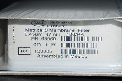 Pall Metricel Membrane Filter 0.45um 47mm P/N 63069 Box of 100 GN-6 New Sealed