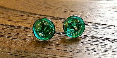 Stainless Steel Emerald Green Resin mixed  Copper Foil Glass Stud Earrings 12mm