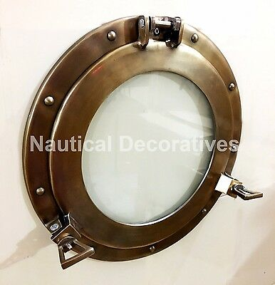 "15"" Ship Porthole Window Antique Finish ~Cabin Ship Porthole ~Nautical Decor"