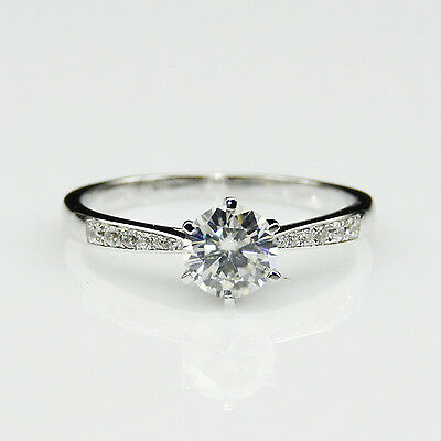 Classic 6 Prongs 1ct Moissanite 10K White Gold Solitaire Engagement Ring
