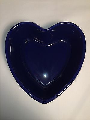 "Chantal Cobalt Blue Heart Stoneware Baking Dish Measures 2"" tall by 6 5/8"" wide"