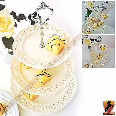 3 Layer/Tier Party Cake Stand Ceramic Round Food Serving Display Rack Holder