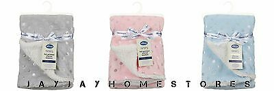 Machine washable 100% polyester Silentnight Foil Printed Sherpa Baby Blanket