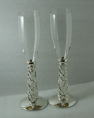 Wedding Champagne Crystal Glasses Flutes Silver Vine Hearts Frosted Glass