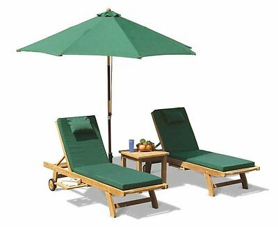 Oriana Teak Outdoor Patio Garden Sun Lounger Set Cushion Side Table Parasol Base