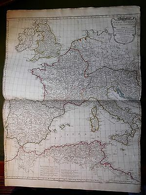 1743 D'anville Map Of Britain France Spain Italy Africa Europe Roman Empire Orig