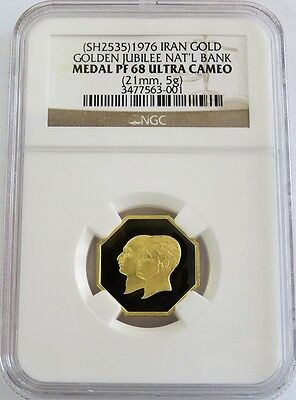 Sh 2535 (1976) Gold Persia Golden Jubilee National Bank Medal Ngc Proof 68 Uc