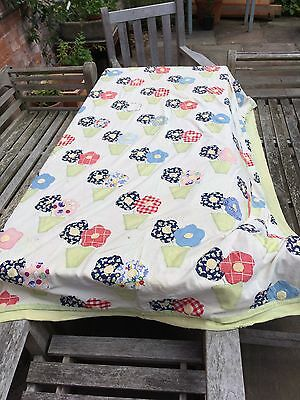c1930 Antique Quilt Hand-Stitched by 13 yr old Hutterite girl, Canadian prairies