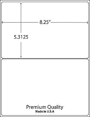 1000 8.375 X 5.375 Rounded Corner Shipping Labels / 2 Per Sheet