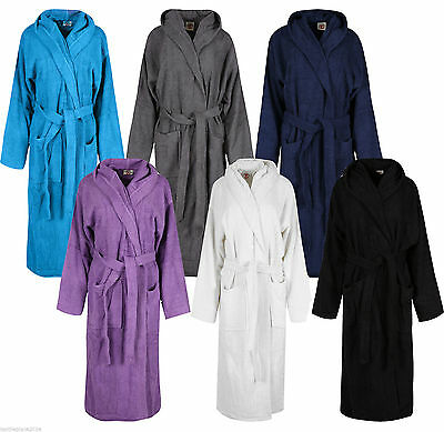 100% Cotton Bath Robe Towelling Shawl Collar Mens Womens Dressing Gown One Size