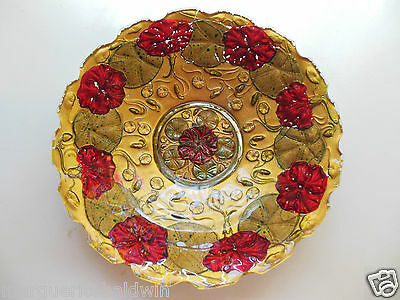 "Goofus Glass Painted Decorated Gold & Red Poppy Floral 10 1/2"" Bowl"