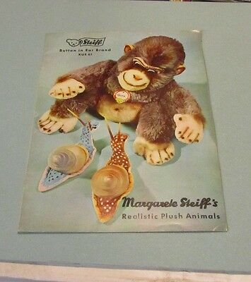 1961 Margarete Steiff Realistic Plush Animals Toy Catalog Button in Ear Brand