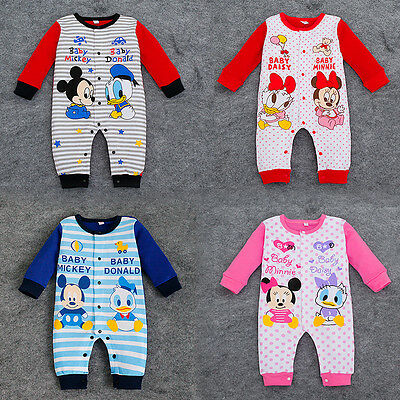 New Baby Boys Girls Double Disney Animal Striped Romper Babygrow Outfit Bodysuit