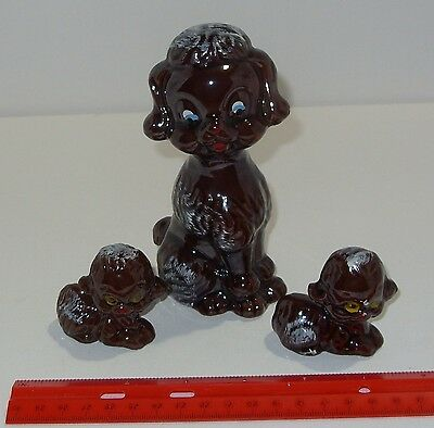 Vintage Ceramic Dog Poodle with 2 Puppies Brown White Japan Figurine