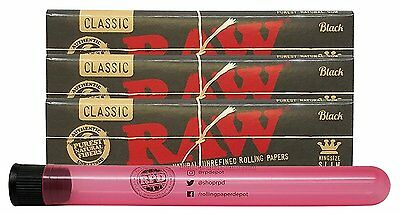 RAW Black Natural King Size Slim (3 Packs)  with Rolling Paper Depot XL Kewltube