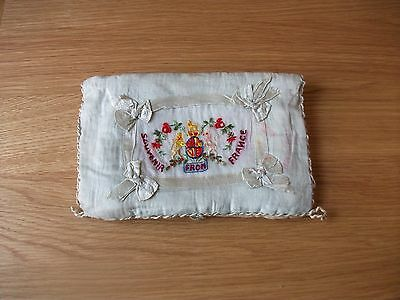 WW1 Silk Embroidered Padded Cushion Souvenir from France