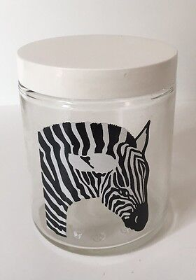 Zebra Glass Container With Lid 8 Oz Home Decor Collectible Gift