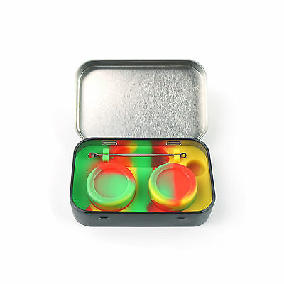 4 in 1 2x5ml Silicone Jars Wax with Tool Stainless Steel Tin Container Non-Stick