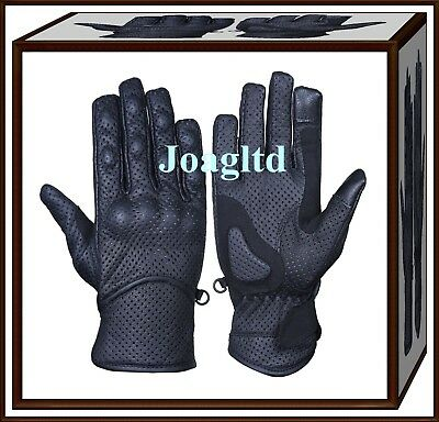Leather Motorbike Motorcycle Touch Gloves Knuckle Shell-Protection-Vented Summer