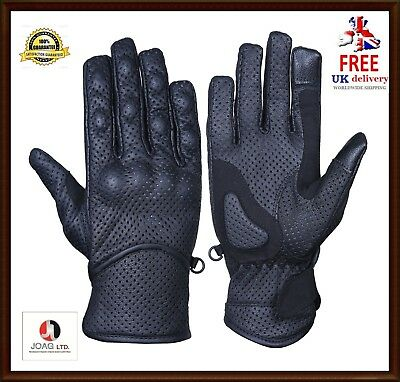 Leather Motorbike Motorcycle Touch Gloves Knuckle Shell-Protection Vented Summer