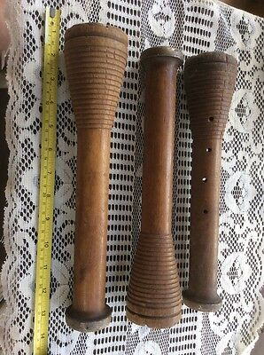 3 Ea Vintage Spool Industrial Wood Beehive Yarn Bobbin - Primitive - Antique