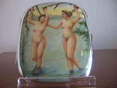 Erotic silver cigarette case -  hand painted enamel scene