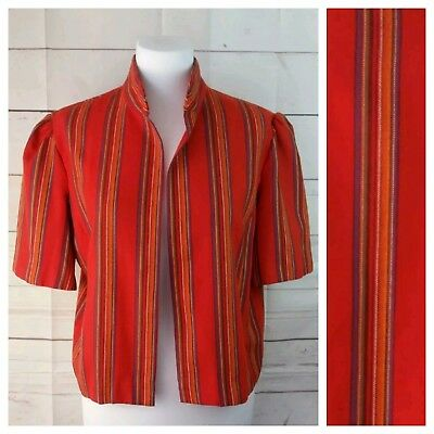 Vtg L Cropped Orange Jacket Mexican Blanket Serape Striped Print Short Sleeves