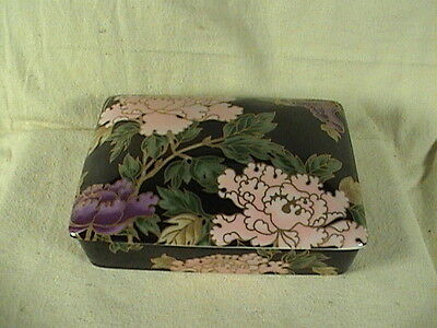 Fitz And Floyd Fine China Divided Playing Card Porcelain Lidded Box W/Cards