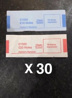 30 x £10 £20 note money bands UK currency straps FAST POSTAGE 1st Class