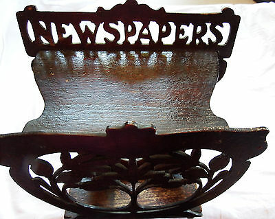Edwardian Fretwork Wooden Wall Hanging Newspaper Rack Stand
