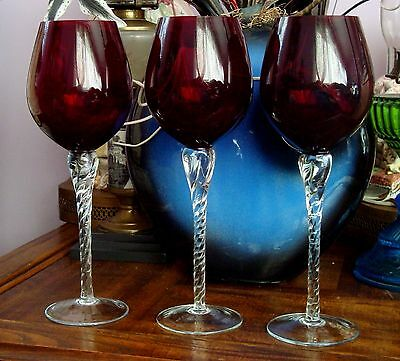 SET OF 3 RUBY RED AND CLEAR GLASS STEMWARE probably Bohemian
