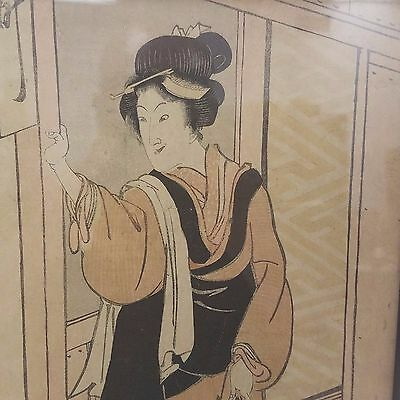 Antique Signed 18th Century Japanese Woodblock Ukiyo-e Print of  an Old Woman