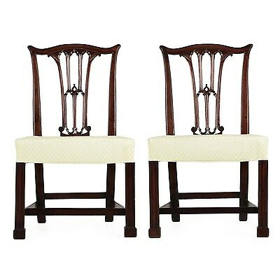 Fine Pair of Gothic Chippendale Mahogany Antique Side Chairs, late 18th Century