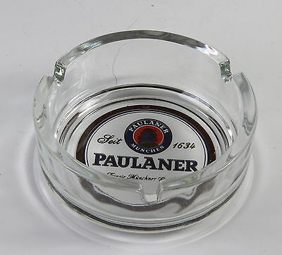 """Paulaner Ashtray Brand New Made In Germany By Ruhr Kristal Glas * 4"""" Diameter"""