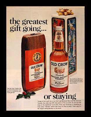 1967 Old Crow Bourbon Ad for Christmas with Flask Bottle - Vintage Advertising
