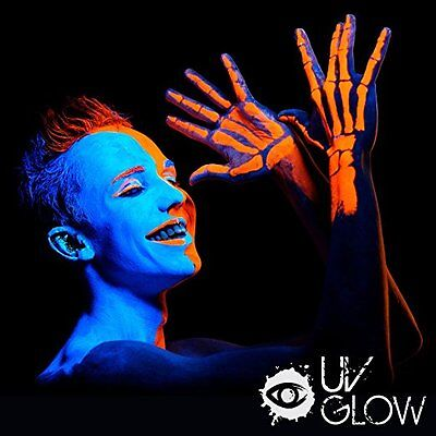 New UV Glow Blacklight Face and Body Paint .34oz Set of 6 Tubes Neon Fluorescent