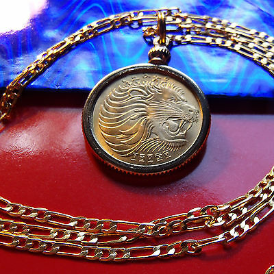 """AFRICAN LION & GAZELLE COIN PENDANT on a 20"""" Gold Filled Chain, 25mm"""