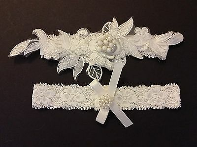 Wedding Garter Set - OFF WHITE lace flower IVORY Satin Bow Garter Set