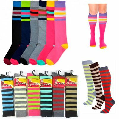 3 Pair Knee High Ladies Socks Assorted Stripes Dance Womens Girls Soccer 9-11